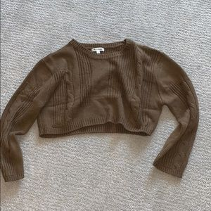 Olive brown long sleeve knitted crop top